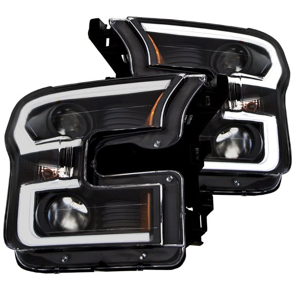 AnzoUSA 111347 Projector Headlights with Plank Style Design Black with Amber