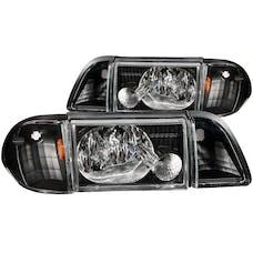 AnzoUSA 121192 Crystal Headlights Black with Corner Lights 2pc