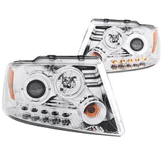 AnzoUSA 111029 Projector Headlights with Halo and LED Chrome