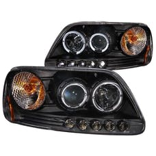 AnzoUSA 111031 Projector Headlights with Halo and LED Black 1pc