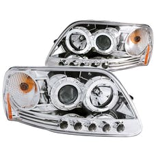 AnzoUSA 111032 Projector Headlights with Halo and LED Chrome 1pc