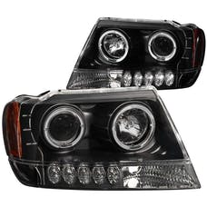 AnzoUSA 111043 Projector Headlights with Halo Black