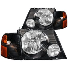 AnzoUSA 111071 Crystal Headlights Black with Corner Lights 2pc
