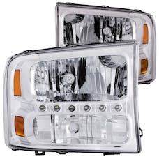 AnzoUSA 111088 Crystal Headlights Chrome with LED 1pc