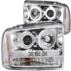 AnzoUSA 111118 Projector Headlights with Halo Chrome with LED Strip (SMD LED) 1pc