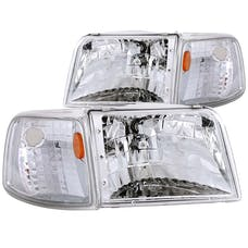 AnzoUSA 111119 Crystal Headlights Chrome with Corner Lights 2pc