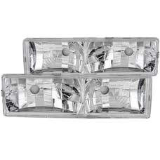 AnzoUSA 111136 Crystal Headlights Chrome without Bulbs