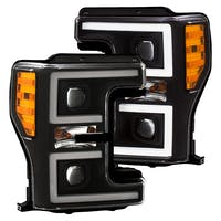 AnzoUSA 111388 Projector Headlights with Plank Style Switchback Black with Amber