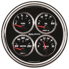 "AutoMeter Products 1224 5"" Quad Gauge, Fuel Level, 0-90, Designer Black II"