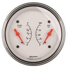 "AutoMeter Products 1313 3-3/8"" Dual, Fuel Level, 240-33, Oil Pressure, 0-100"