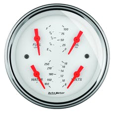 "AutoMeter Products 1319 5"" Quad Guage, Fuel Level, 0-90 OHM, Arctic White"
