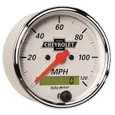 AutoMeter Products 1388-00408 Gauge; Speedo.; 3 1/8in.; 120mph; Elec. Prog. w/LCD Odo; Chevrolet Heritage Bowt