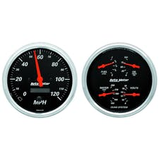 AutoMeter Products 1403 Quad Gauge & Electric. Speedo Kit  Designer Black