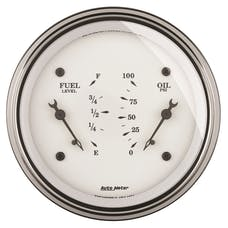 AutoMeter Products 1613 GAUGE; DUAL; FUEL/OILP; 3 3/8in.; 240OE-33OF/100PSI; ELEC; OLD TYME WHT