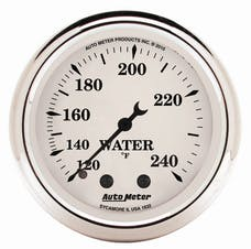 "AutoMeter Products 1632 2"" Water Temperature Gauge, 120-240F Mechanical, Old Tyme White"
