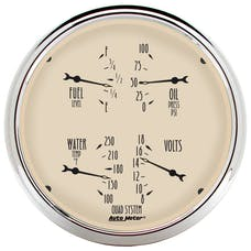 AutoMeter Products 1810 Gauge; Quad; 5in.; 240OE-33OF; Elec; Antique Beige