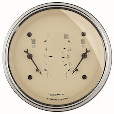 AutoMeter Products 1813 Gauge; Dual; Fuel/OILP; 3 3/8in.; 240OE-33OF/100psi; Elec; Antq Beige