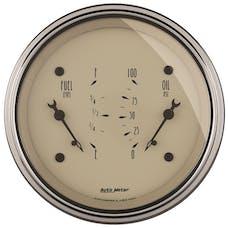 AutoMeter Products 1824 Gauge; Dual; Fuel/OILP; 3 3/8in.; 0OE-90OF/100psi; Elec; Antq Beige