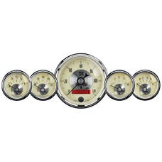 AutoMeter Products 2000 Gauge Kit; 5 pc.; 3 3/8in./2 1/16in.; Elec. Speedo w/LCD odo; Prestige Antq. Ivo