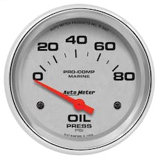 """AutoMeter Products 200747-35 Oil Pressure Gauge, Electric-Marine Chrome 2 5/8"""", 80PSI"""