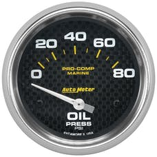 "AutoMeter Products 200747-40 Oil Pressure Gauge, Electric-Marine Carbon Fiber 2 5/8"", 80PSI"