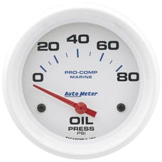 """AutoMeter Products 200747 Oil Pressure Gauge, Electric-Marine White  2 5/8"""", 80PSI"""
