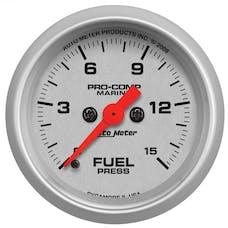 "AutoMeter Products 200848-33 Fuel Pressure Gauge, Marine Silver  2 1/16"", 15PSI Digital Stepper Motor"