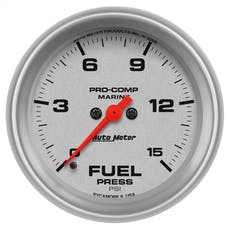 "AutoMeter Products 200849-33 Fuel Pressure Gauge, Marine Silver   2 5/8"", 15PSI Digital Stepper Motor"