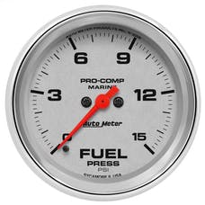 "AutoMeter Products 200849-35 Fuel Pressure Gauge, Marine Chrome  2 5/8"", 15PSI, Digital Stepper Motor"