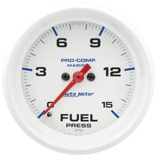 "AutoMeter Products 200849 Fuel Pressure Gauge, Marine White  2 5/8"", 15PSI Digital Stepper Motor"