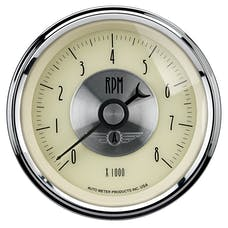 AutoMeter Products 2097 Gauge; Tachometer; 3 3/8in.; 8k RPM; In-Dash; Prestige Antq. Ivory