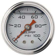 AutoMeter Products 2180 Auto Gage Series Dampened-Movement Pressure Gauge (Silver, 0-100 PSI, 1-1/2 in.)