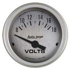 AutoMeter Products 2380 Gauge Console; Voltmeter; 2 1/16in.; 18V; SLVR Dial; SLVR Bezel; AutoGage