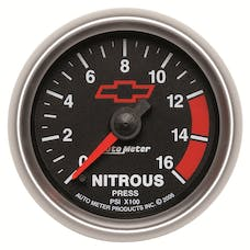AutoMeter Products 3674-00406 GAUGE; NITROUS PRESSURE; 2 1/16in.; 1600PSI; DIGITAL STEPPER MOTOR; GM BOWTIE BL