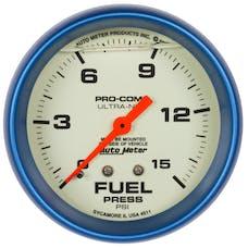 "AutoMeter Products 4211 2-5/8"" Fuel Pressure Gauge, 0-15 PSI, LFG, Ultra-Nite"