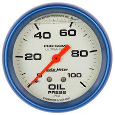 "AutoMeter Products 4221 2-5/8"" Oil Pressure Gauge 0-100 PSI, LFG, Ultra-Nite"