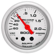 AutoMeter Products 4303-M Gauge; Vac/Boost; 2 1/16in.; 60cmHg-2.0BAR; Mechanical; Ultra-Lite