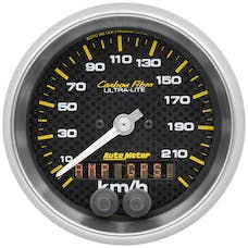 "AutoMeter Products 4780-M Speedometer Gauge, 3 3/8"", 225km/h, GPS, Carbon Fiber"
