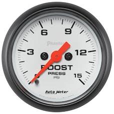 "AutoMeter Products 5750 Low Pressure Boost Gauge; 2-1/16"" Boost 0-15 psi, DSM Phantom"