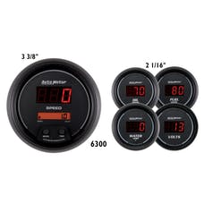 AutoMeter Products 6300 Gauge Kit; 5 pc.; 3 3/8in./2 1/16in.; Elec. Speedo.; Digital; Black Dial w/Red L