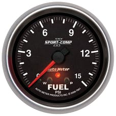 AutoMeter Products 7661 Sport-Comp II│ Electric Fuel Pressure Gauge 2 5/8 in. 0 - 15 psi w/Peak And