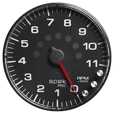 AutoMeter Products P239328 Spek Pro 5in In-Dash Tachometer 0- 11,000 RPM Black Dial, Black Bezel