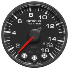 AutoMeter Products P320328 Gauge; Nitrous Press; 2 1/16in.; 1600psi; Stepper Motor w/Peak/Warn; Blk/Blk; Sp