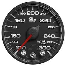 AutoMeter Products P322328 Gauge; Oil Temp; 2 1/16in.; 300deg.F; Stepper Motor w/Peak/Warn; Blk/Blk; Spek-P