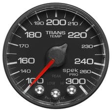 AutoMeter Products P342328 Spek Pro 2-1/16in Transmission Temperature, 100- 300`F, Black Dial, Black Bezel