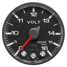 AutoMeter Products P344328 Volt; 2in.; 16V; Stepper Motor w/Peak/Warn; Blk/Blk; Spek
