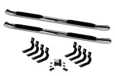 """Big Country Truck Accessories 39427666 4"""" + 15 Degree Cab-Length Side Bars with Welded End Caps"""