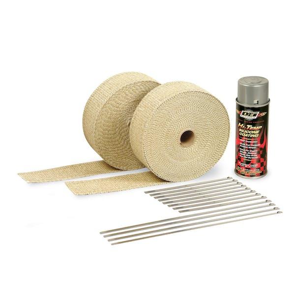 DEI 010112 Exhaust Wrap Kit - with Tan Wrap & Aluminum HT Silicone Coating
