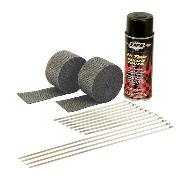 Design Engineering, Inc. 010330 Motorcycle Exhaust Wrap Kit (Black wrap w/Black HT Silicone Coating)