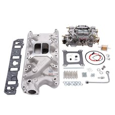 Edelbrock 2031 Manifold and Carb Kit, Performer, Natural Finish